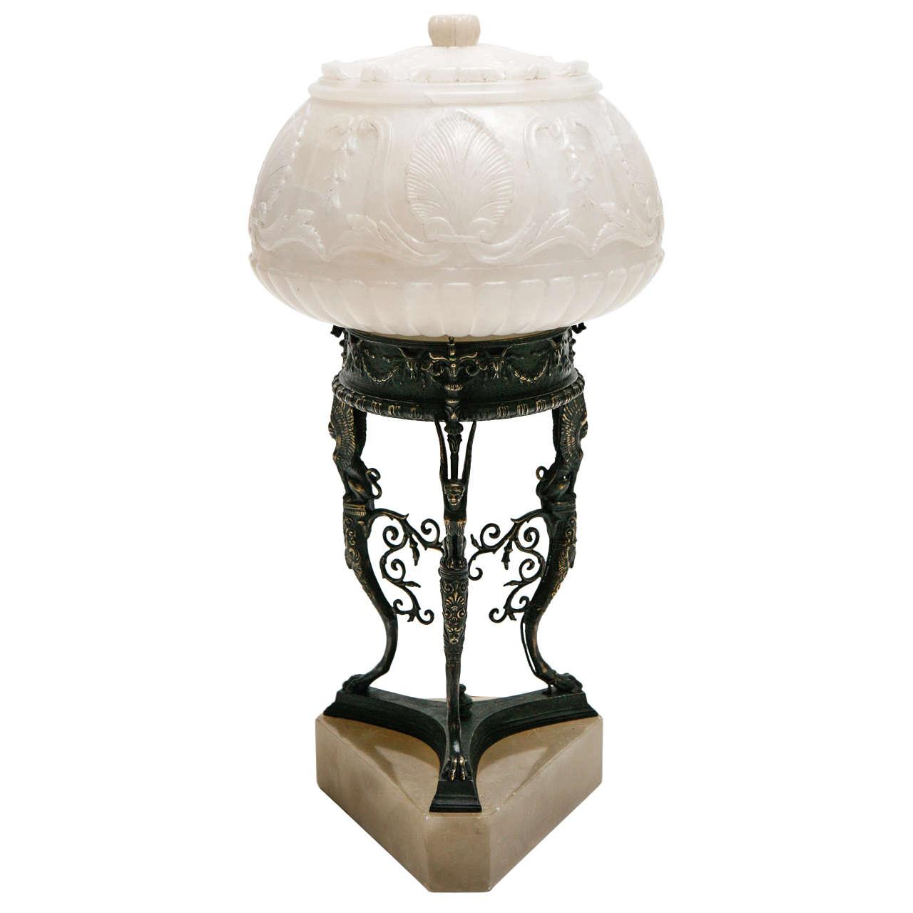 Cast Bronze & Alabaster Accent Lamp