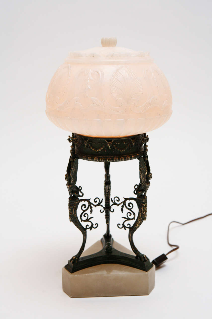 Cast Bronze And Alabaster Accent Lamp For Sale At 1stdibs