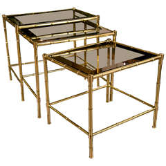French Brass and Glass Nesting Tables