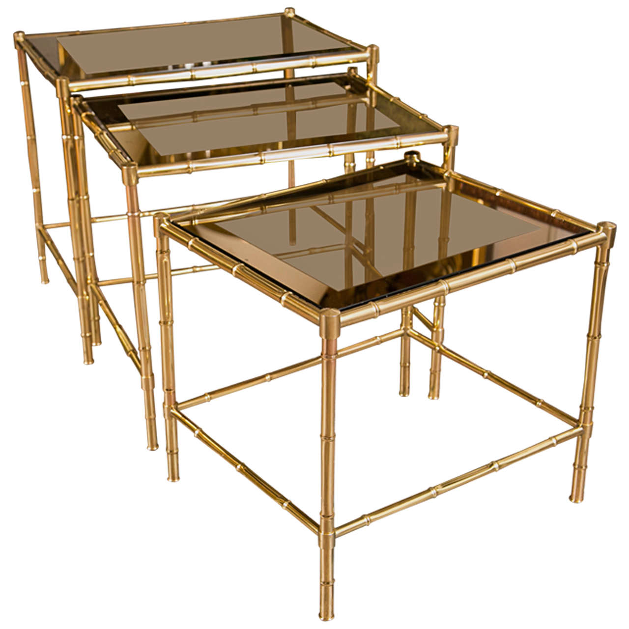 French Brass & Glass Nesting Tables
