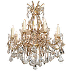 Louis XV Style Eight-Light Crystal 19th Century, Chandelier with Gilt Armature