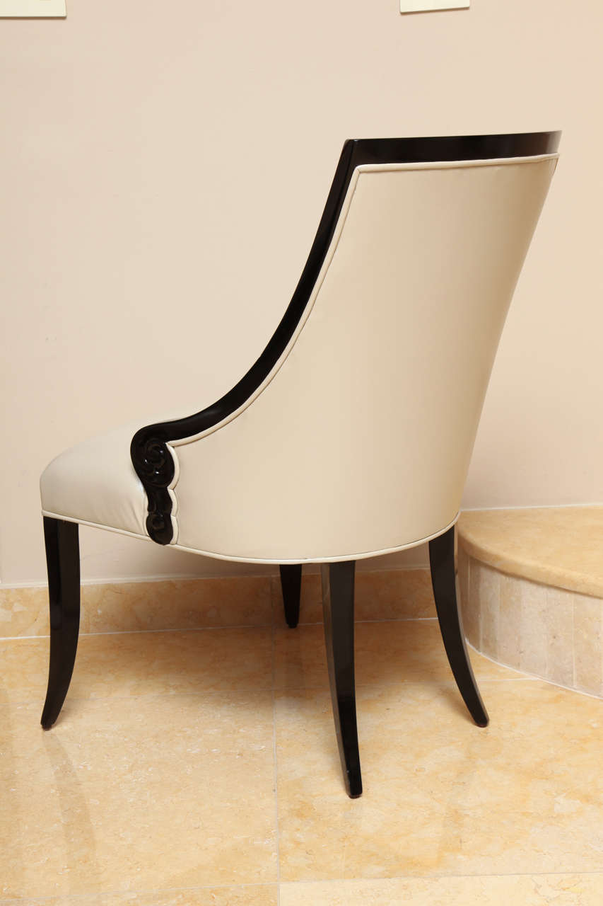 Set Of 10 Lacquer Wood And Shagreen Dining Chairs At 1stdibs