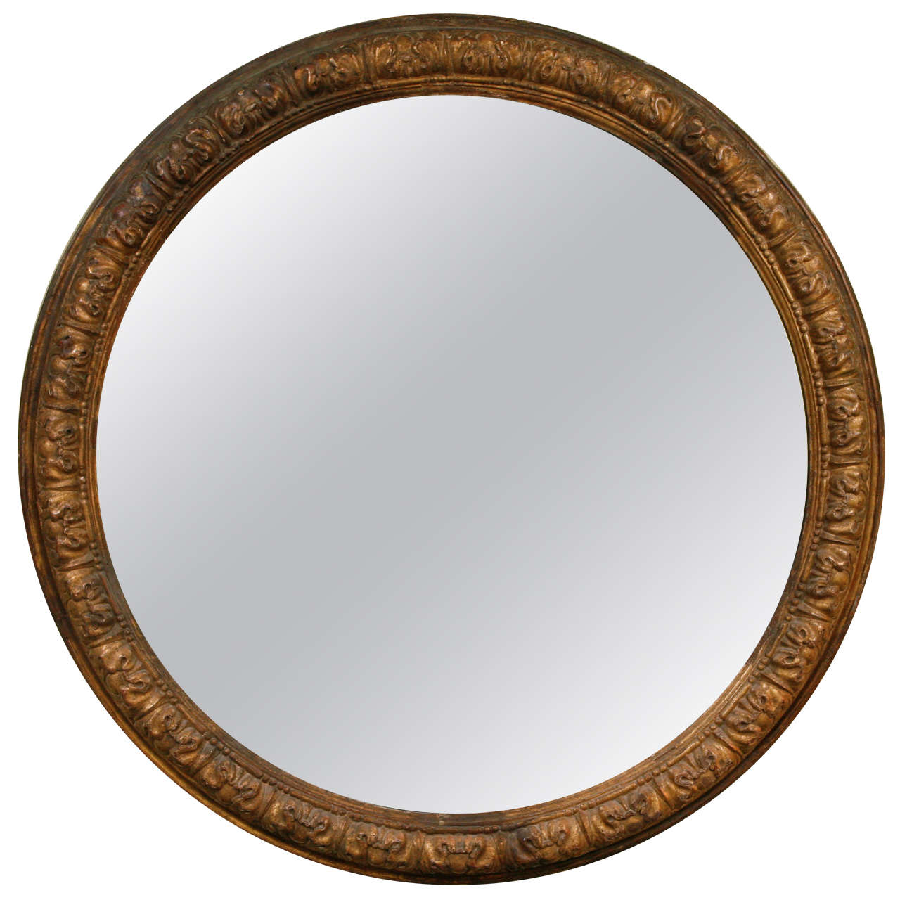 An italian carved and gilt wood large round mirror 18th c for Round wood mirror