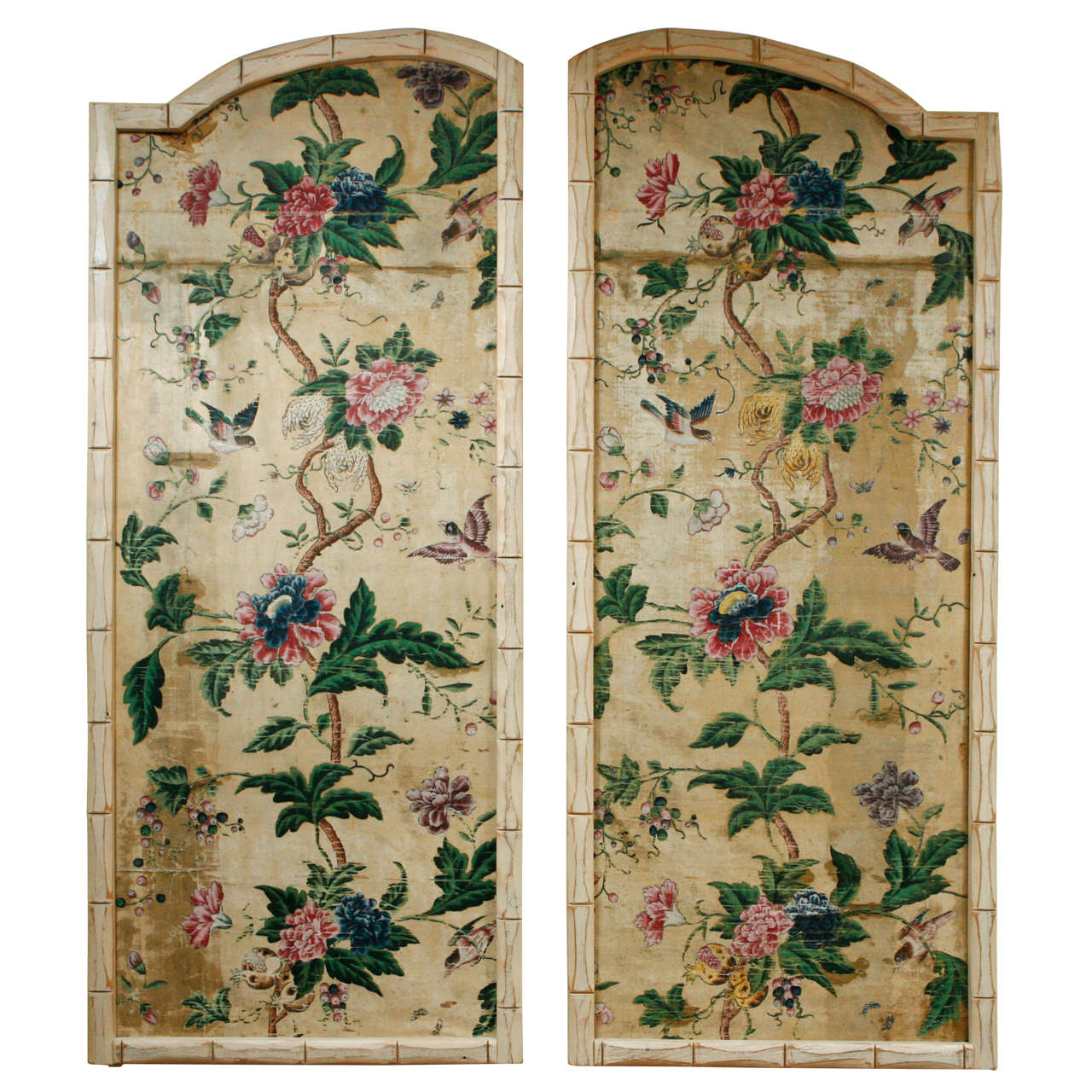 A Pair Of 18th C Chinese Silk Panels In Faux Bamboo
