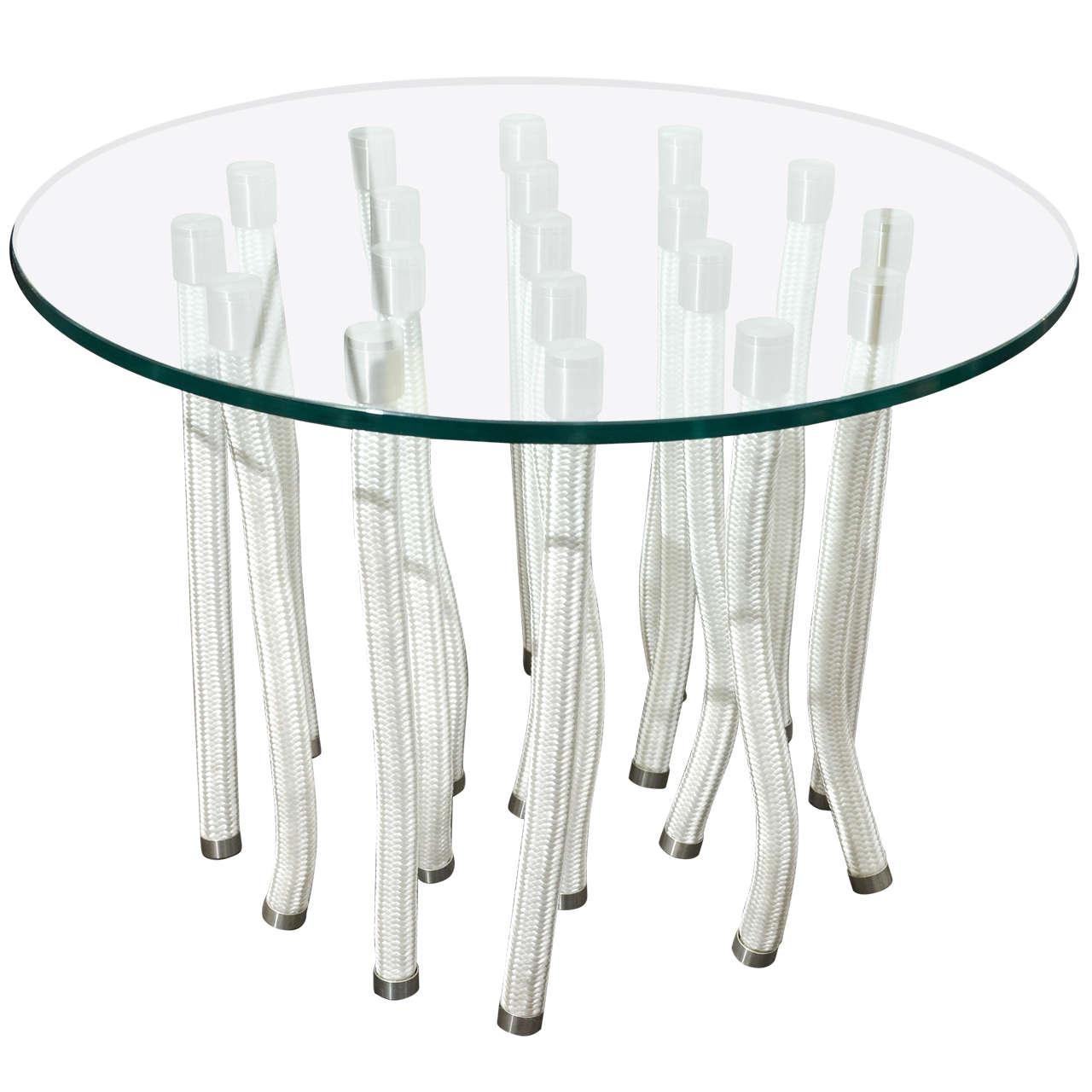 Round glass coffee table by f novembre for sale at 1stdibs for Round glass coffee tables for sale