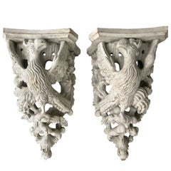 Pair of Carved Wood Painted Brackets