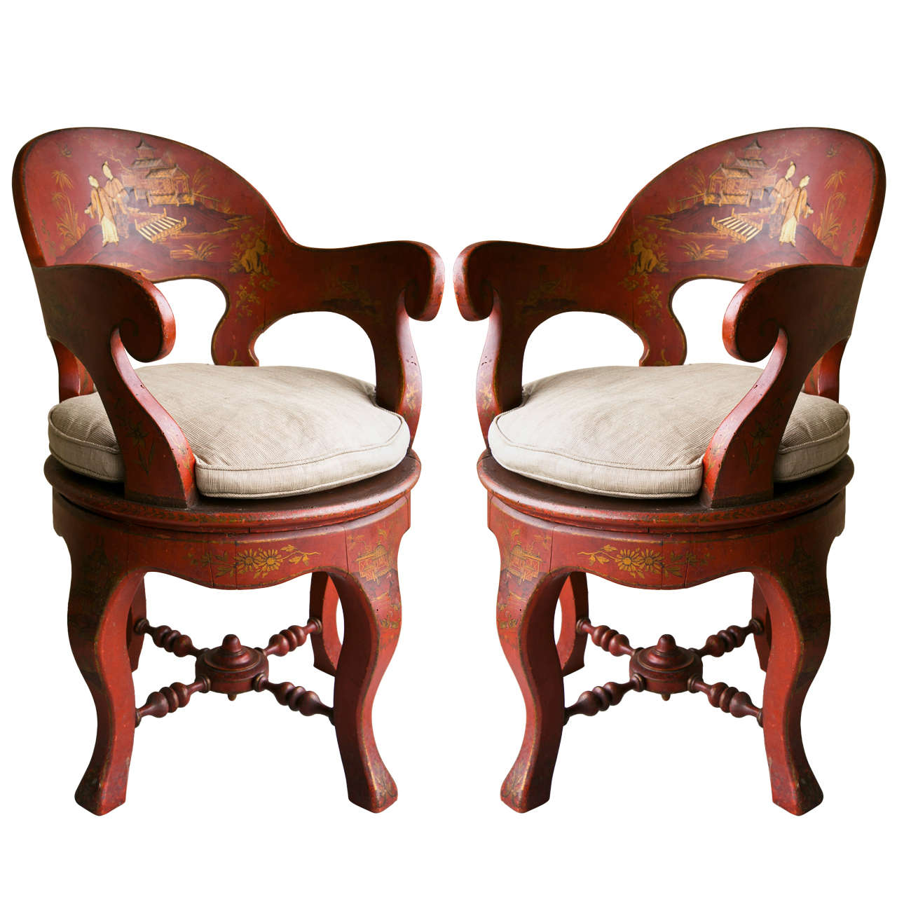 Pair Red Chinoisserie Swivel Armchairs at 1stdibs