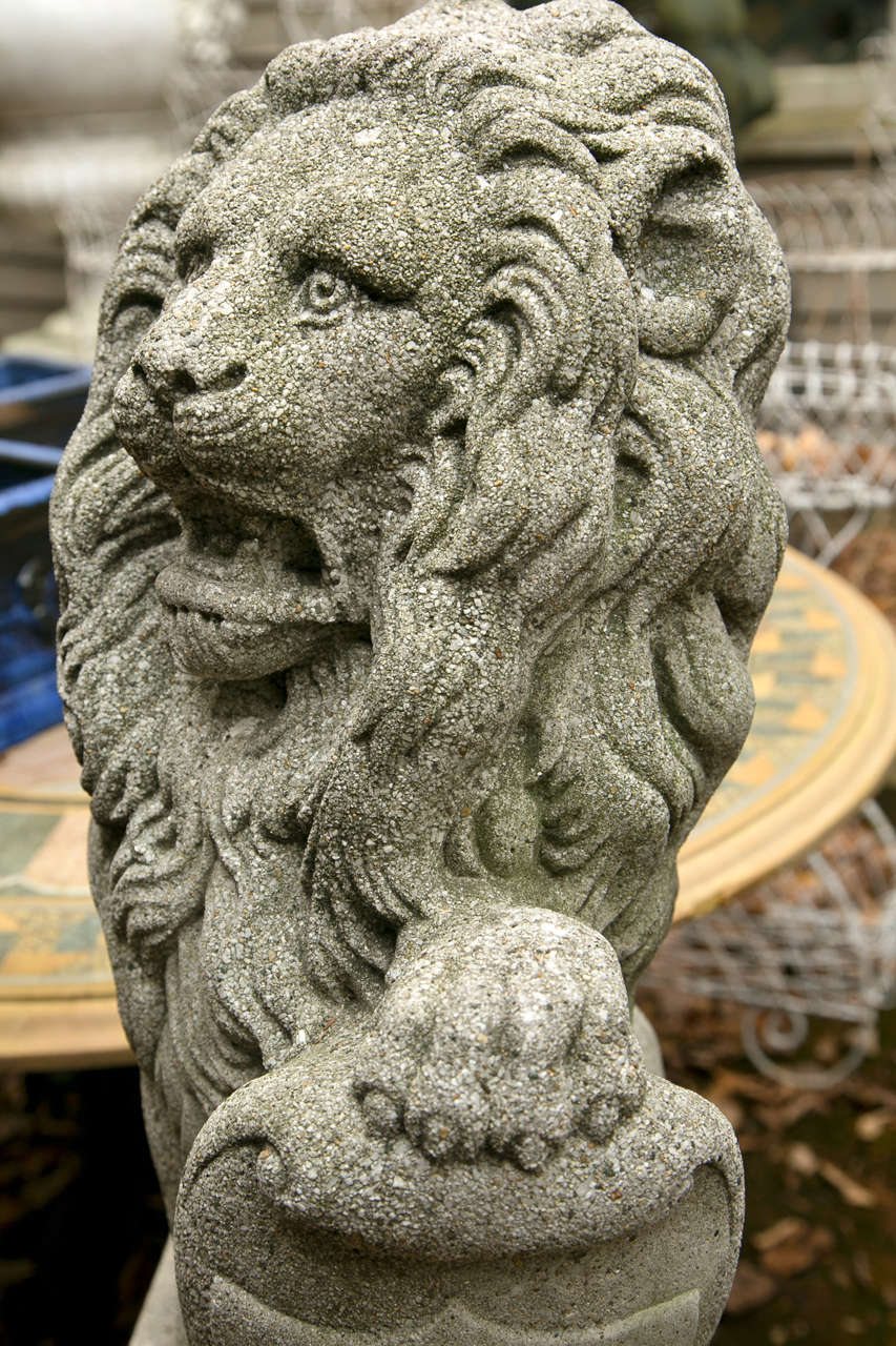 Pair Seated Cast Concrete Lions With Shields For Sale At