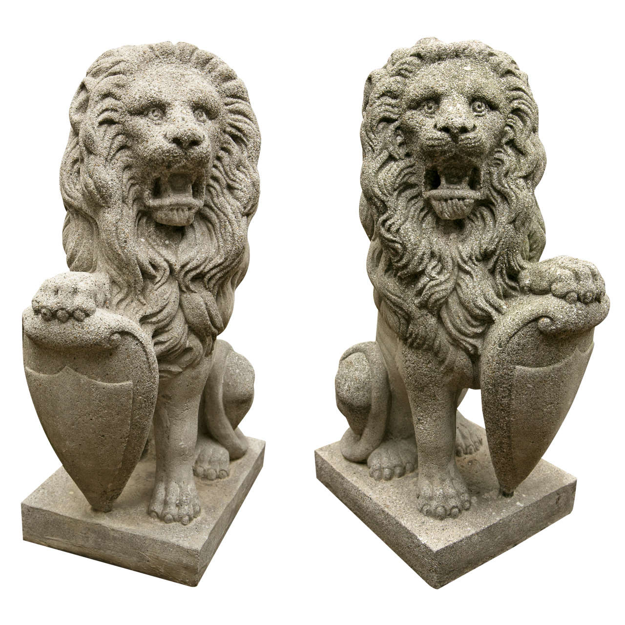 Pair  Seated  Cast Concrete Lions with Shields