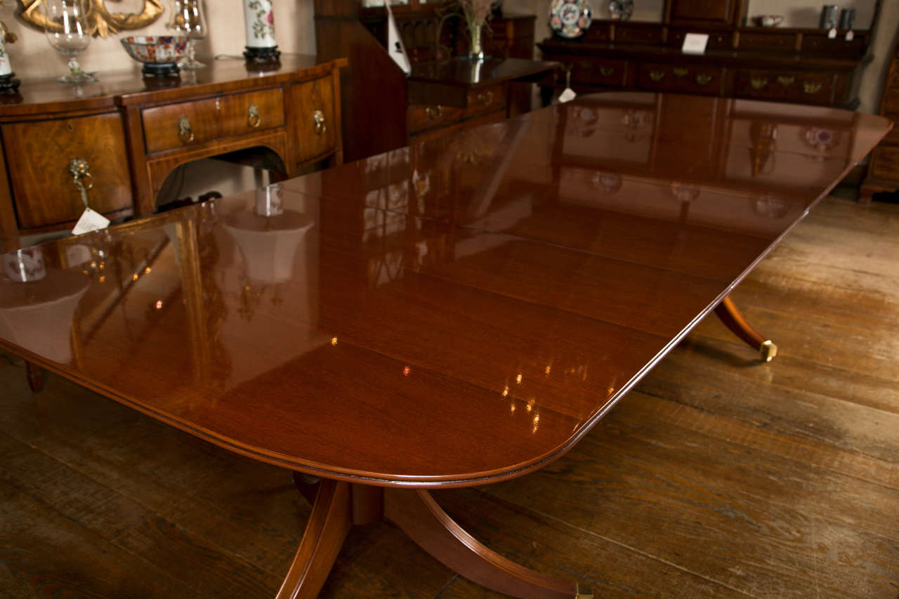 custom english mahogany double pedestal dining table for sale at