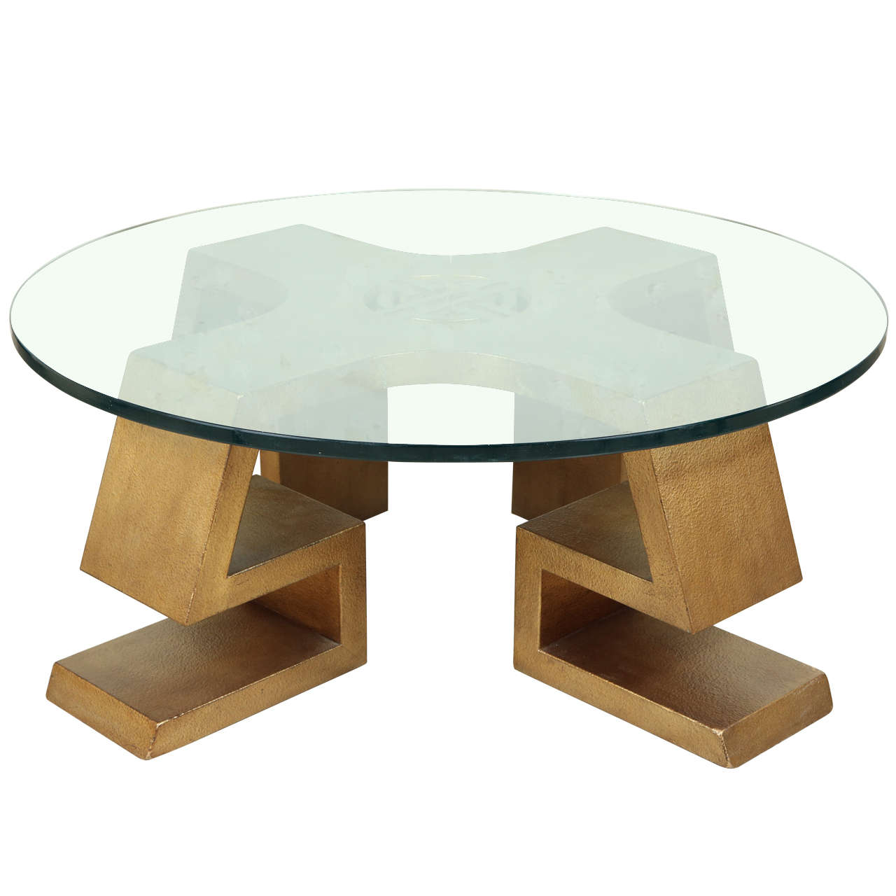 Aurelle Home Amanda Glass Top Rectangle Coffee Table: Oriental Gold Leafed Coffee Table By James Mont At 1stdibs