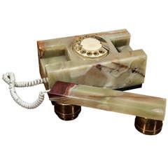 Mid century Italian green onyx telephone set