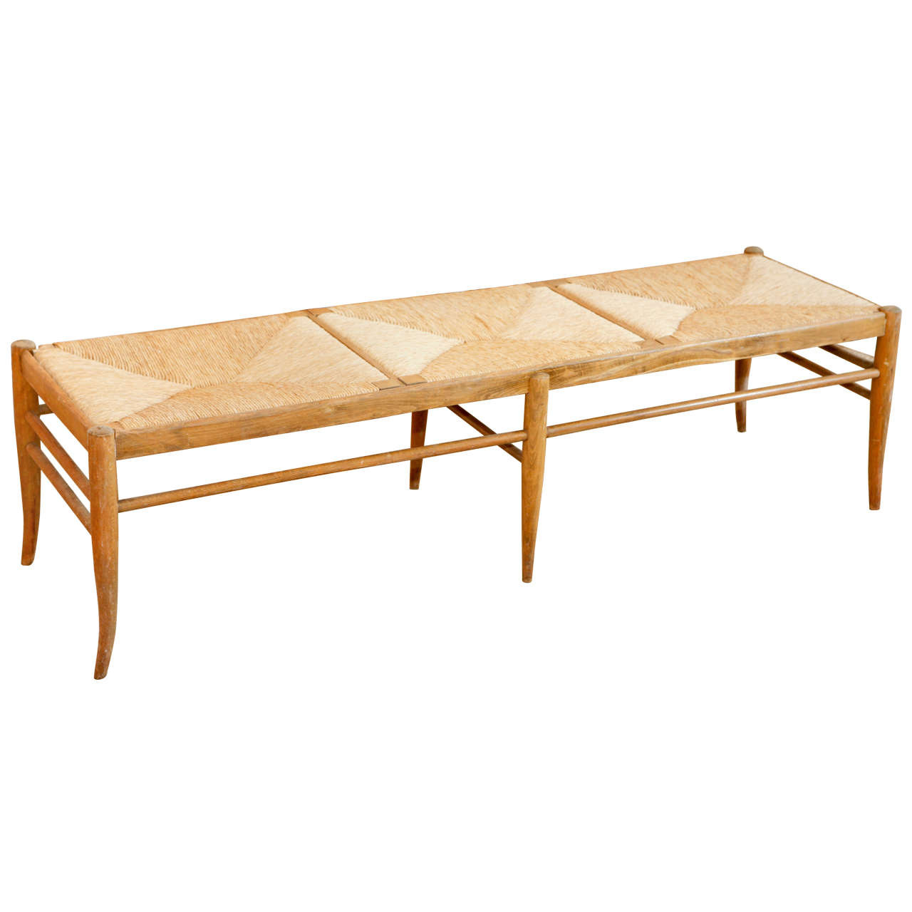 Italian Wood And Rush Seat Bench At 1stdibs