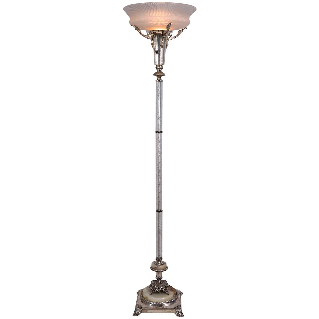Silver plated torchiere floor lamp at 1stdibs for 1940s torchiere floor lamp