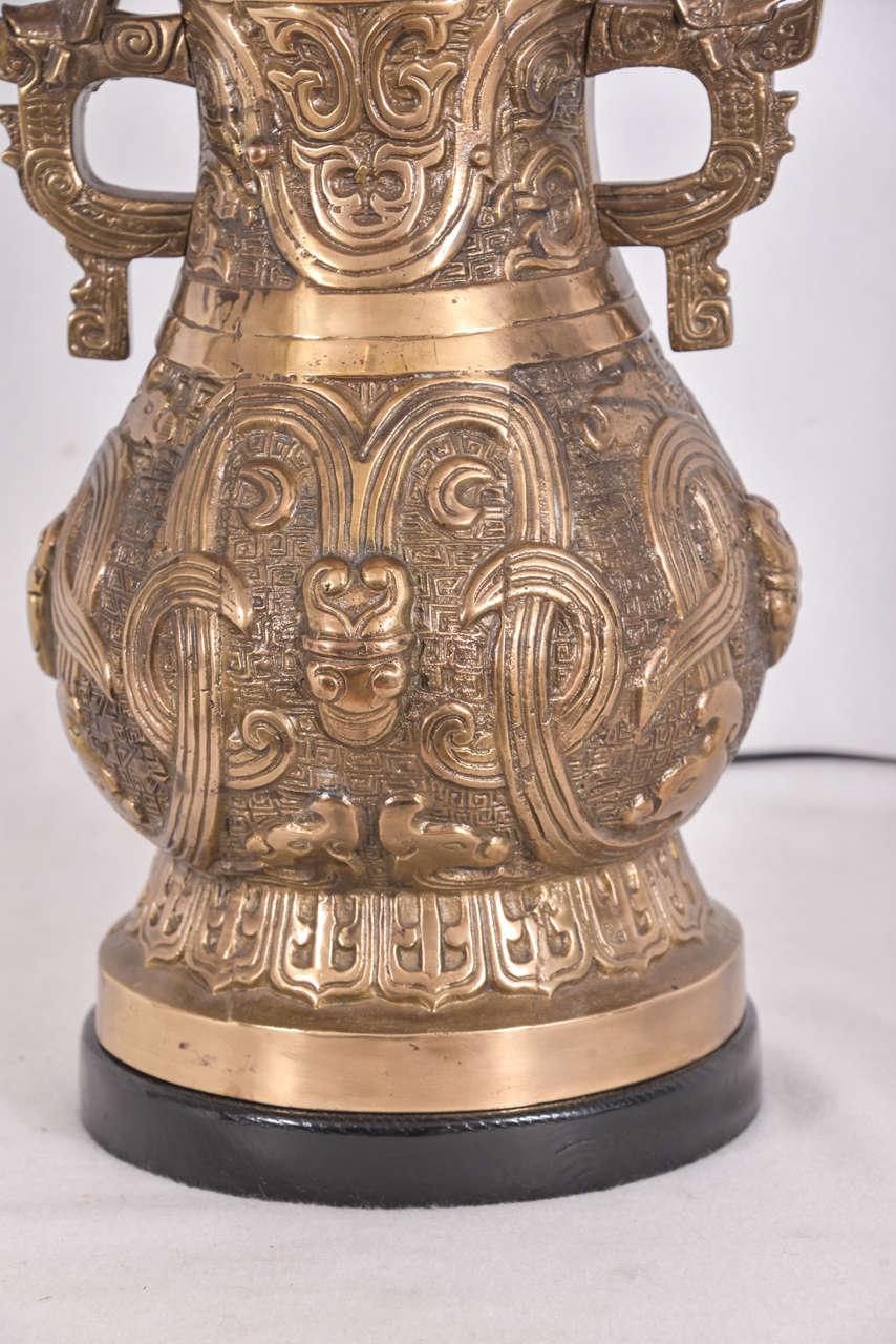 Pair Of Bronze Asian Temple Jars As Lamps At 1stdibs