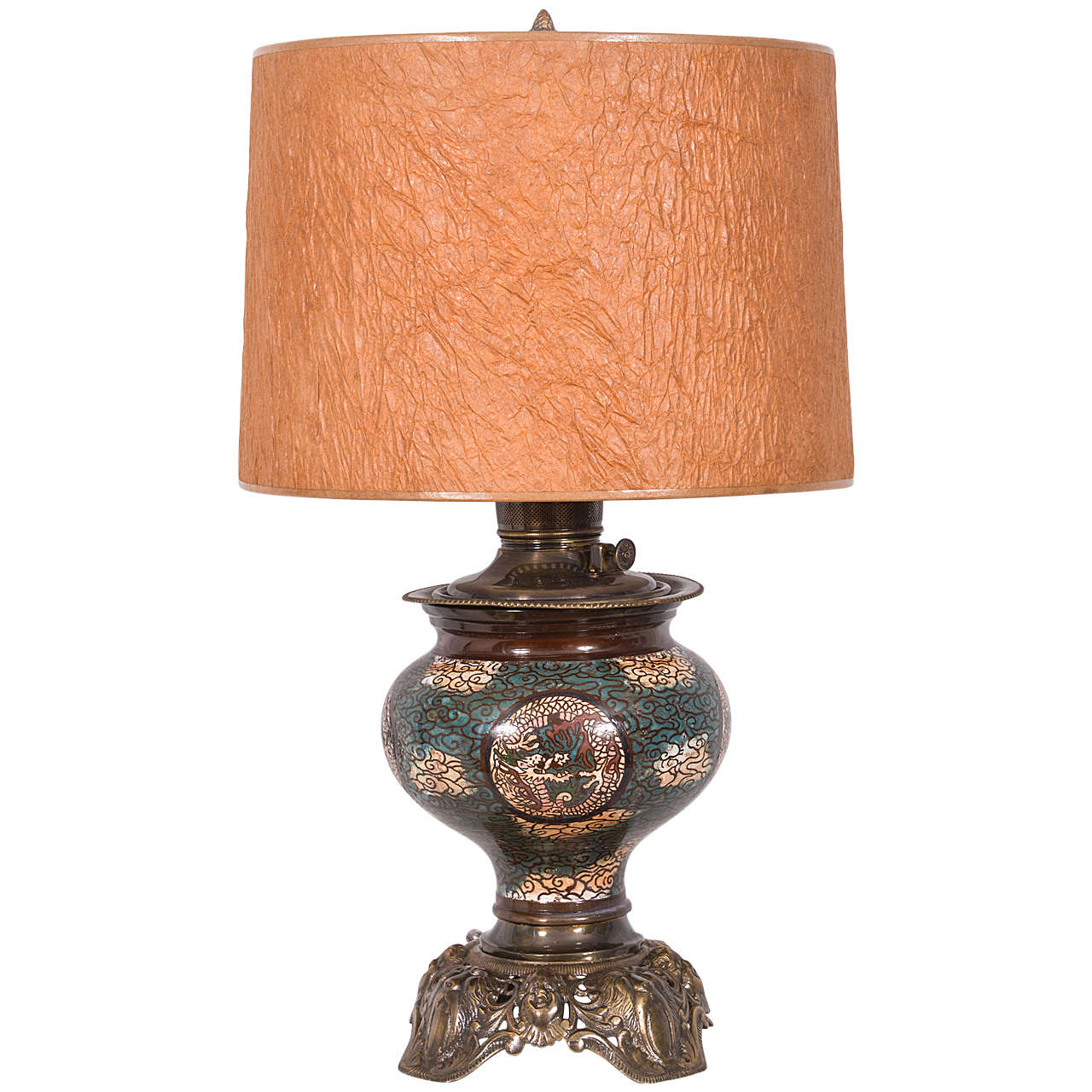 restored asian cloisonn electrified oil lamp for sale at 1stdibs. Black Bedroom Furniture Sets. Home Design Ideas