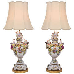 German Porcelain Urns as Lamps