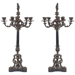 Bronze Candelabra with Marble Base