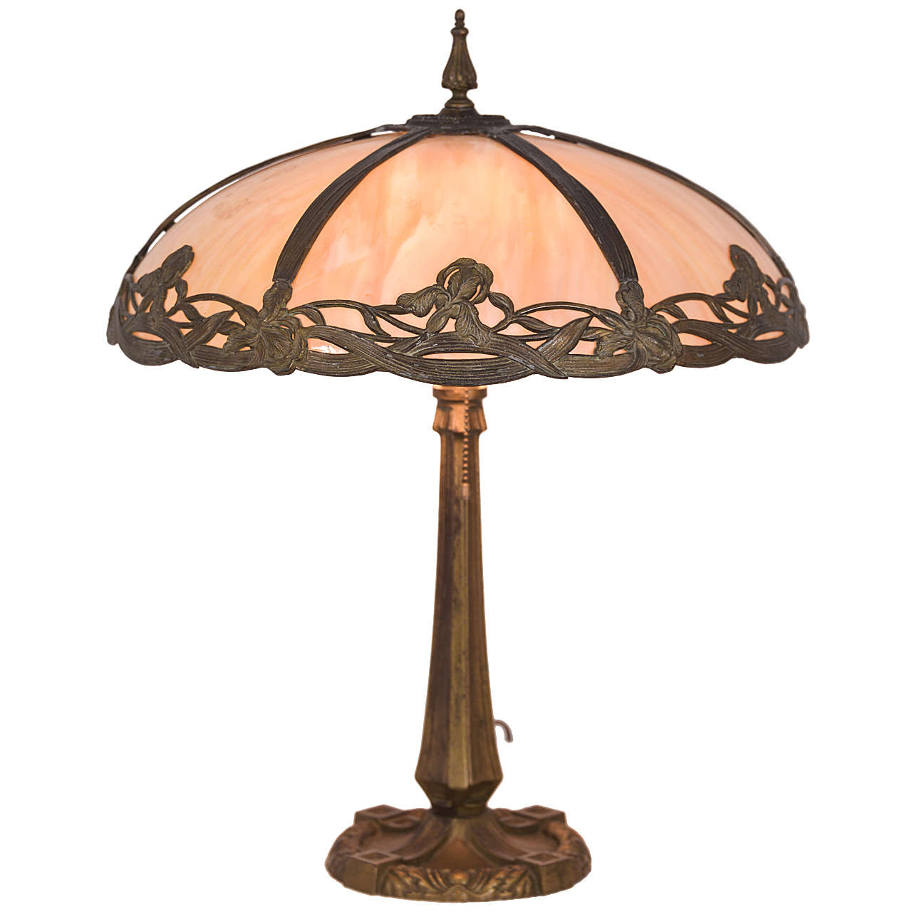 1930s Bent Slag Glass Table Lamp At 1stdibs