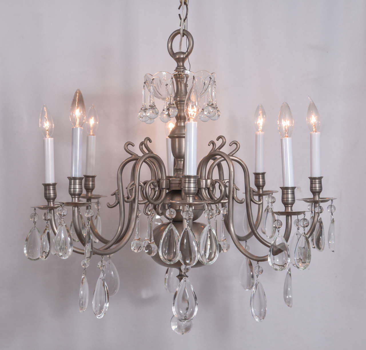 Brushed nickel williamsburg with a new twist for sale at for Williamsburg style lighting