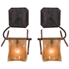 Pair of Handblown Murano Glass Sconces
