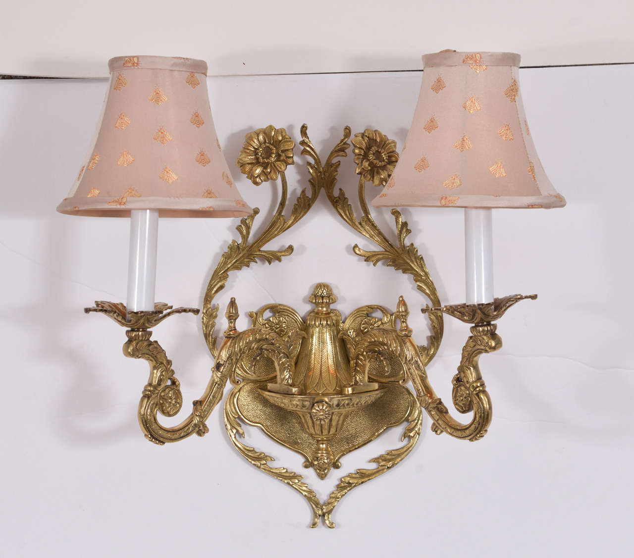 Wall Sconces Without Lights : Pair of Classic Floral Motif Two-Light Sconces at 1stdibs