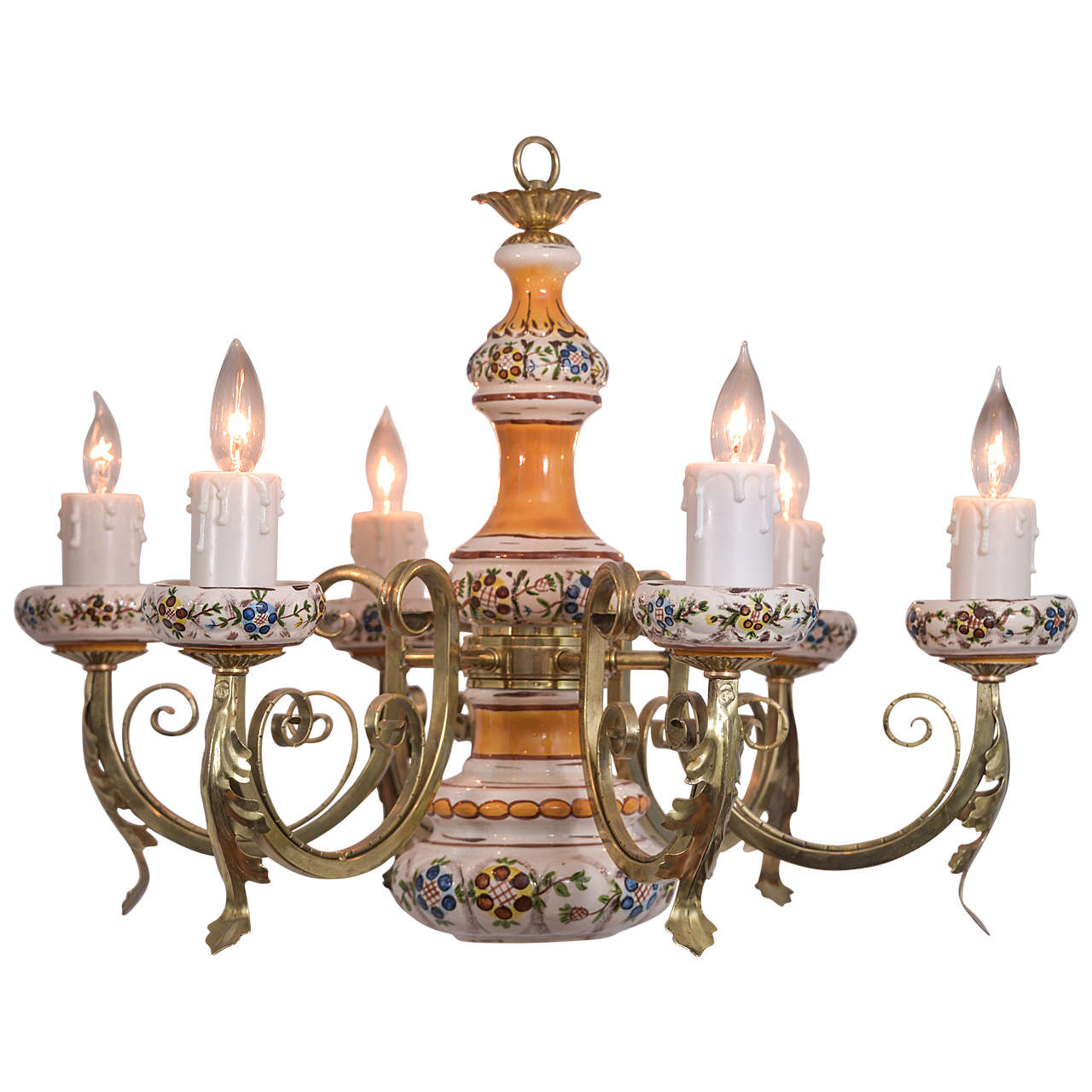 Country French Chandelier With Five Candles And One Down