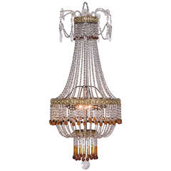 French Crystal Beaded Basket Fixture