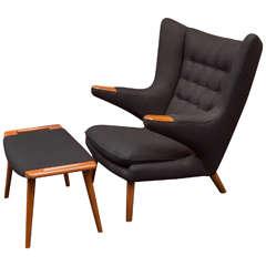 Hans J Wegner Papa Bear Chair and Ottoman