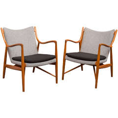 Pair of Finn Juhl NV45 Chairs by Niels Vodder