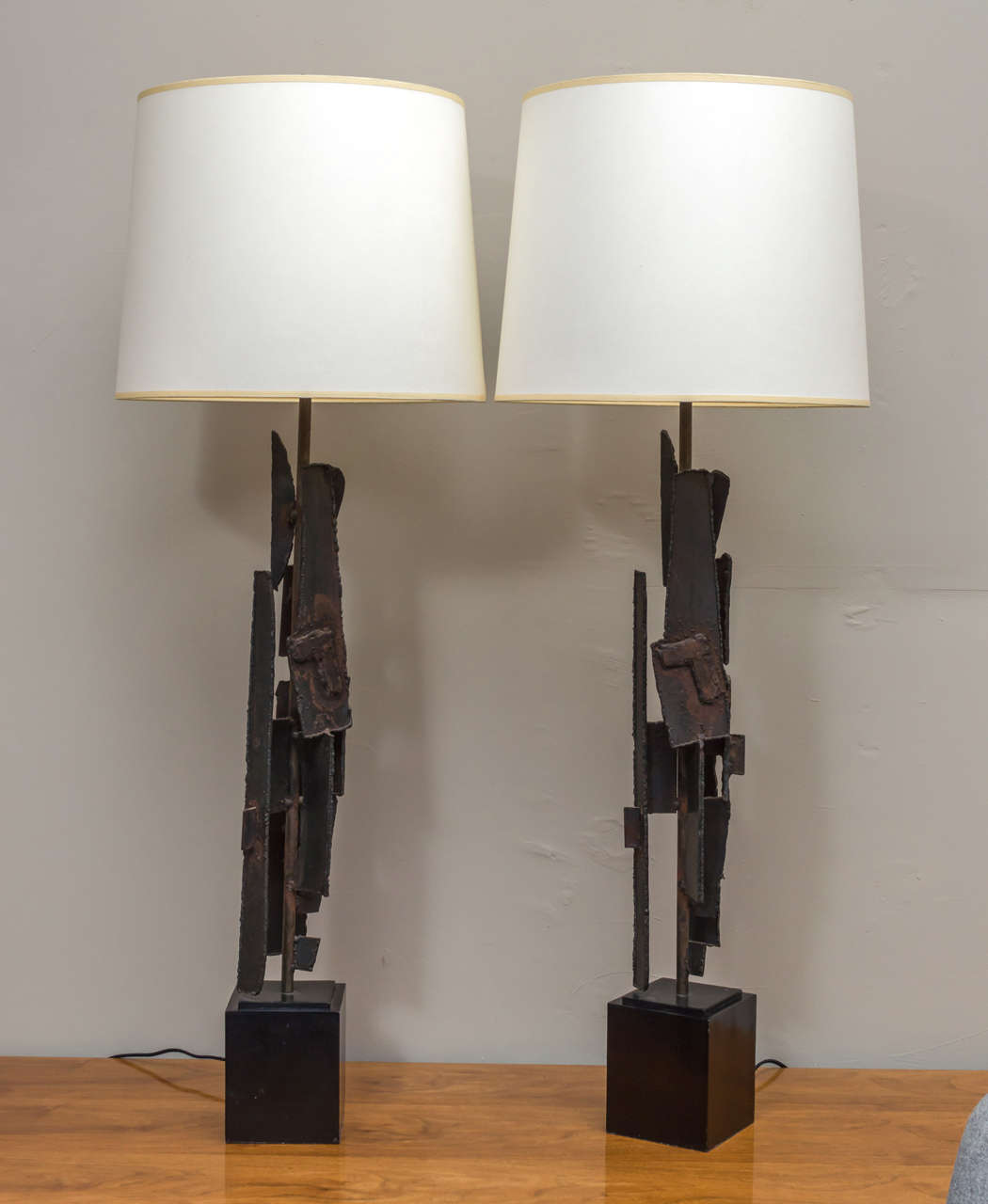 Original pair of Brutalist lamps designed by Harry Balmer for Laurel Lamp Company. Newly re-wired in excellent vintage condition.