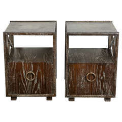 Pair of James Mont Nightstands in Cerused Oak Finish Tables