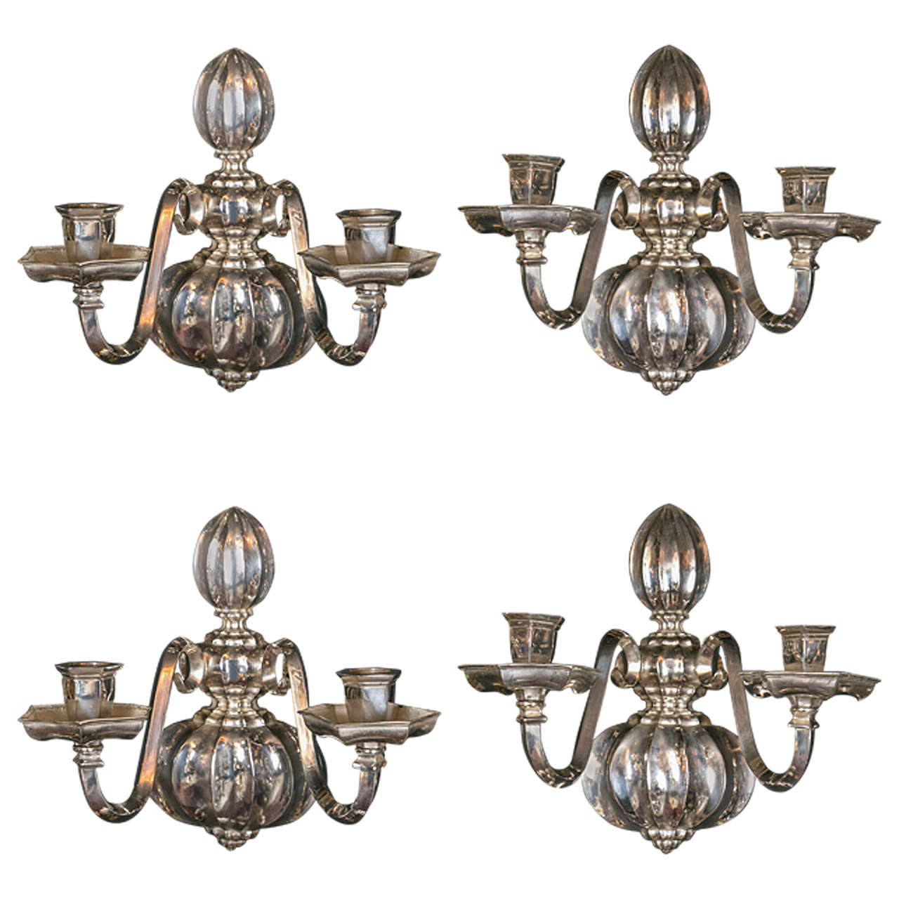 Pair of Caldwell Silverplated Sconces, circa 1920