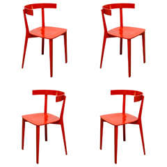Set of Four Red Dining Chairs