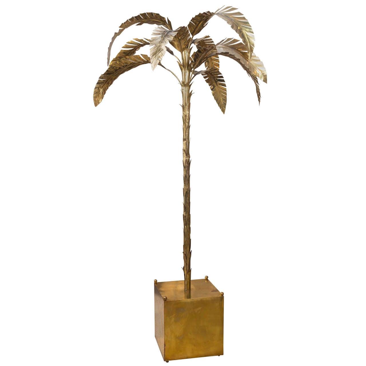 patinated brass palm tree floor lamp at 1stdibs. Black Bedroom Furniture Sets. Home Design Ideas