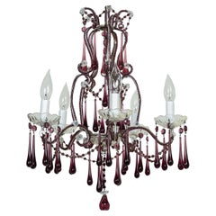 Chandelier with Purple Glass Crystals