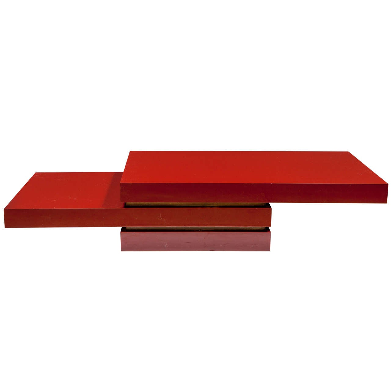 Tri Level Red Lacquer Cocktail Table For Sale At 1stdibs