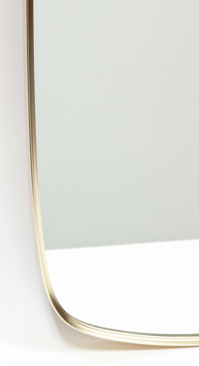 1960s thin edge brass elongated oval mirror at 1stdibs for Thin wall mirror