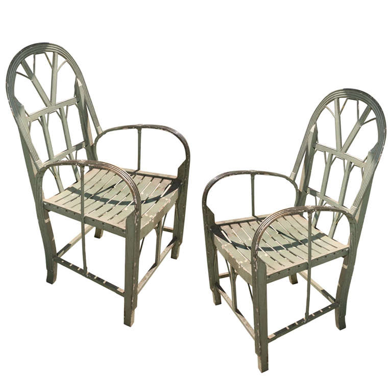pair of charming primitive bentwood arm chairs at 1stdibs