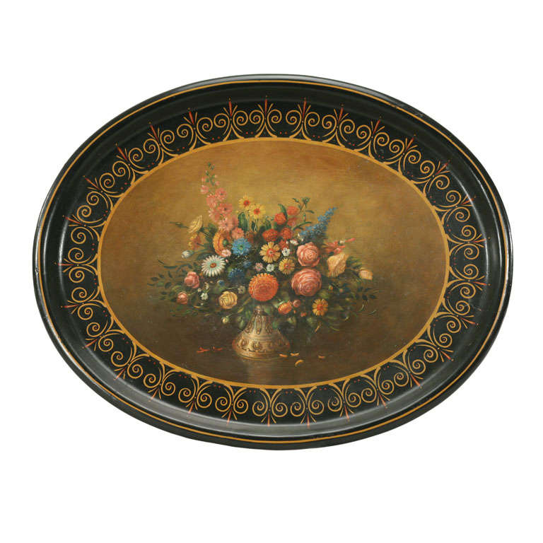 Copper Derby Cover : Th c hand painted victorian papier mache tray for sale