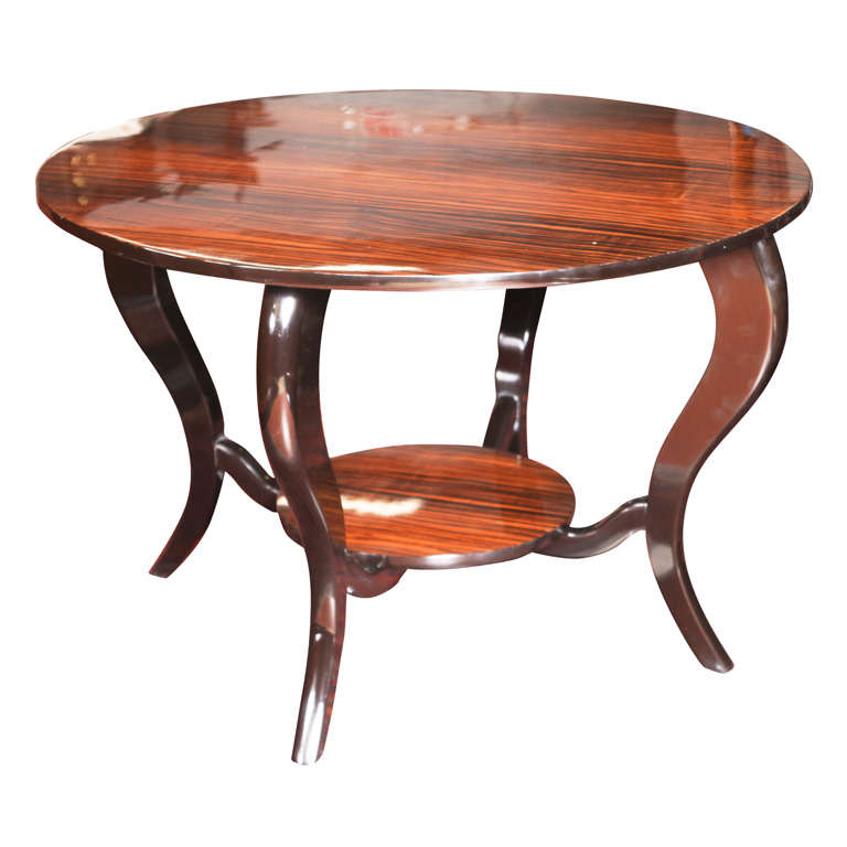 Large French Coffee Table: Large Round French Art Deco Exotic Macassar Ebony Coffee