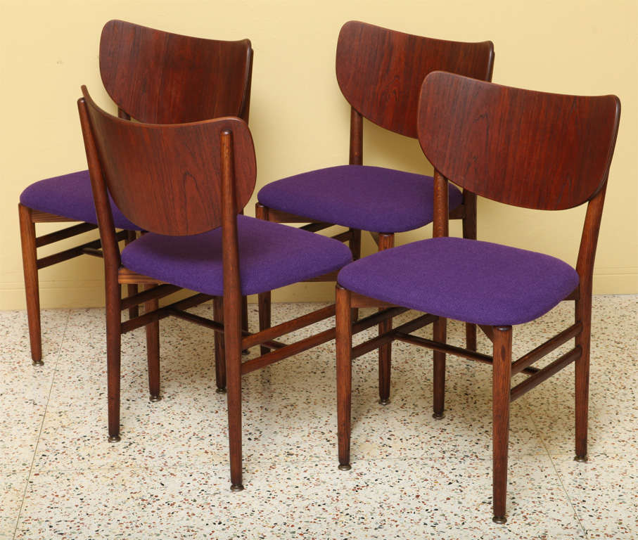 REDUCED FROM $3,250. Rarely seen Danish chairs in fumed oak designed by Nils Koppel and Eva Ditlevson Koppel and produced by Slagelse Mobelvaerk. Known for their chairs with large backs, these are in excellent, beautiful original condition with