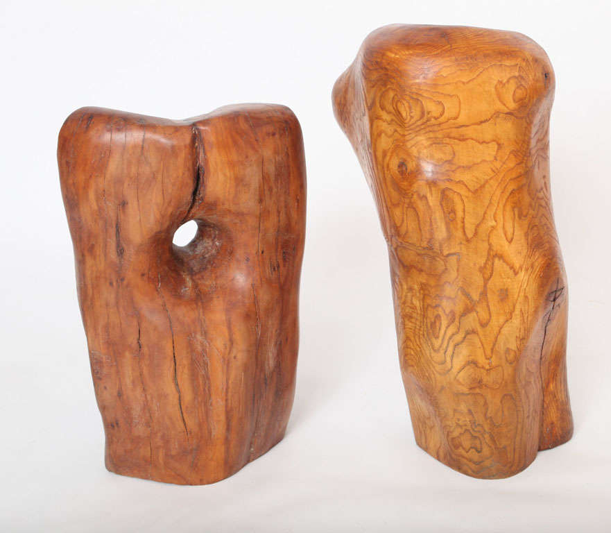 Organic Modern Pair of Modern Organic Abstract Feminine Form Wood Floor Sculptures For Sale