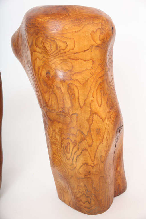 Pair of Modern Organic Abstract Feminine Form Wood Floor Sculptures In Good Condition For Sale In Ft Lauderdale, FL