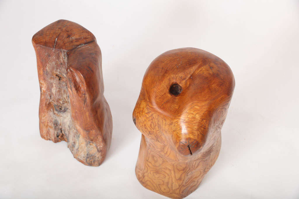 Pair of Modern Organic Abstract Feminine Form Wood Floor Sculptures For Sale 1