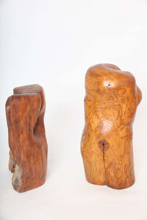 Pair of modern organic abstract feminine form wood floor sculptures, 1960s