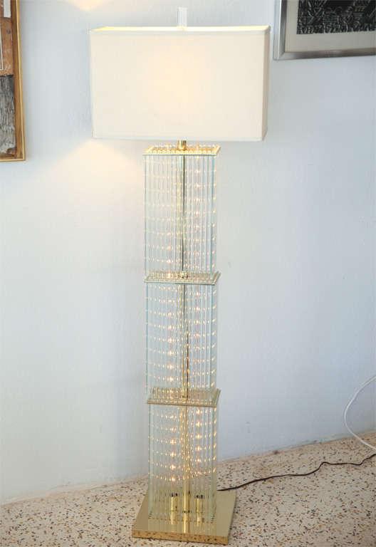 Shimmering Glass Rod Floor Lamp At 1stdibs
