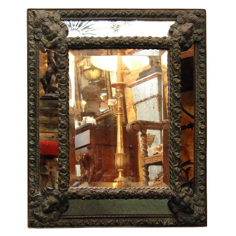 Small Antiques Brass Repose Mirror For