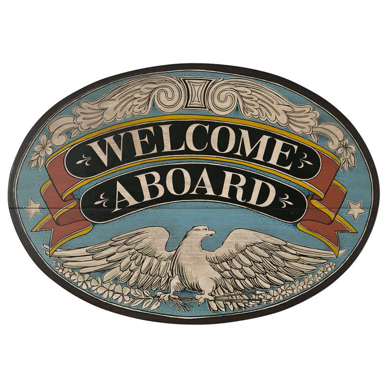 "Welcome Aboard Sign American eagle. ^. ""welcome."