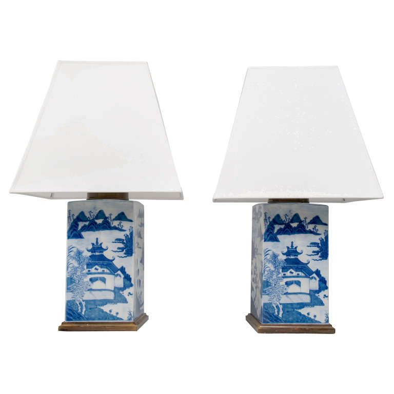 Pair of Chinese Export Tea Canister Lamps
